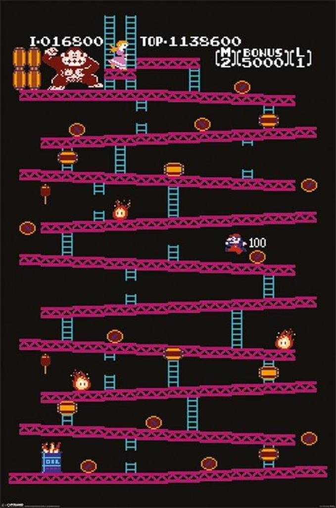 Pyramid America Donkey Kong Level 1 Video Game Gaming Cool Wall Decor Art Print Poster 24x36