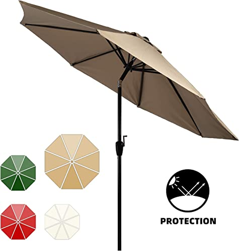 10 Patio Umbrella 2Years Colorfast Outdoor Market Table Umbrella with Push Button Tilt and Crank for Garden,Pool,Market,Patio Khaki