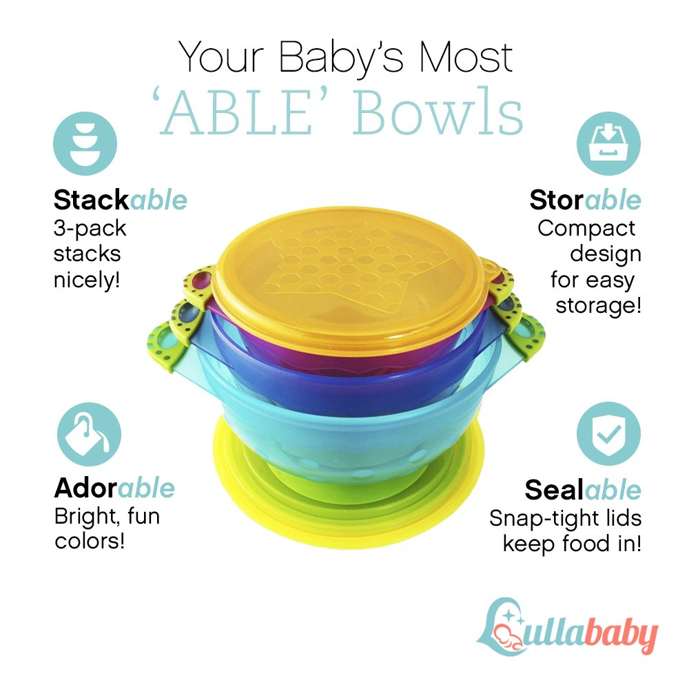 Feeding Bright New Set Of 3 Feeding Bowls With Lid For Babies And Toddlers Bpa Free