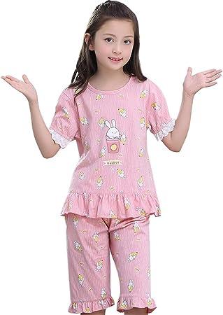 Camisones Ropa De Dormir para Niñas Verano para Niños Algodón 100% Manga Corta para Niños Servicio En Casa De Noche Se Puede Usar Afuera (Color : Pink, Size : 120cm): Amazon.es: Hogar