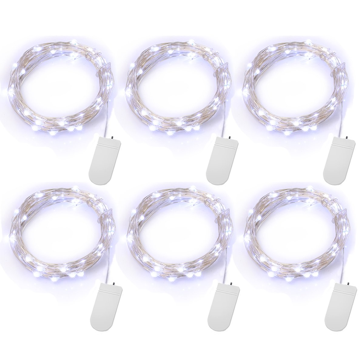 YIHONG 6 PCS Fairy Lights Battery Operated String Lights Led Moon Lights 7.2ft 20 LEDs White Firefly Lights Starry String Light for DIY Costume Wedding Easter Party Table Centerpiece Decor White