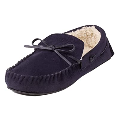 a923466f29d2 totes Mens Suedette Moccasin Slippers Navy Large (UK 10-11)  Amazon ...