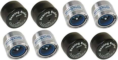 1.980 Stainless Steel with Protective Bra /& Blue Auto Check Feature for Boat Trailer Wheel Center Caps 1980A-SS 42204 2 Bearing Buddy 1 Pair