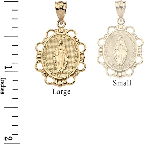 Virgin Mary AUR/ÉOL/ÉE-Religious Medal Pendant 9-Carat Gold Height 17 mm-perles.com www.diamants