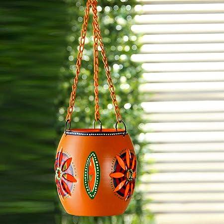ExclusiveLane Home Decorative Metal Table Top Cum Hanging Tea Light Candle Holder (11.2 cm x 11.2 cm x 41.1 cm, Orange, Set of 1) Tealight Candle Holders at amazon