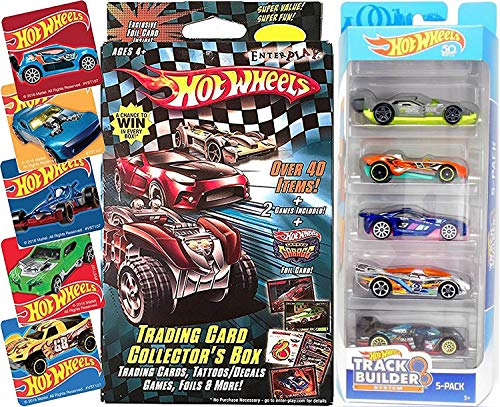 AYB Products Hot Wheels Fun Track Builder car 5-Pack & Trading Card Box Game - Stickers Decals / Foils / Track Game Cards Car -