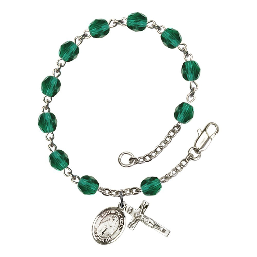 Hildegard von Bingen Silver Plate Rosary Bracelet 6mm Fire Polished Beads Every Birth Month Color Bonyak Jewelry St