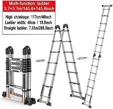 AOLI Escalera de extensión multifunción, plegable retráctil Junta grande Aluminio Escalera de elevación larga Escalera de escalera F0R adecuada en construcción Escalera de extensión,3.7 + 3.7m / 145.: Amazon.es: Bricolaje y herramientas