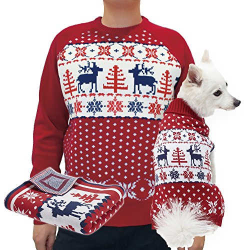 Blueberry Pet Men's Women's Ugly Christmas Reindeer Pullover Sweater in Tango Red & Navy Blue, XX-Large by Blueberry Pet (Image #2)