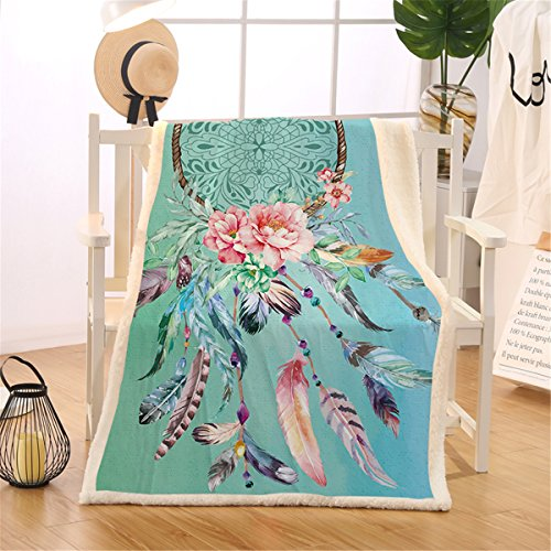 BlessLiving Dream Catcher Blanket Sherpa Flannel Fleece Reversible Blanket Native American Feathers Print Bed Couch Blankets and Throws (Twin, 60 x 80 Inches, Turquoise)
