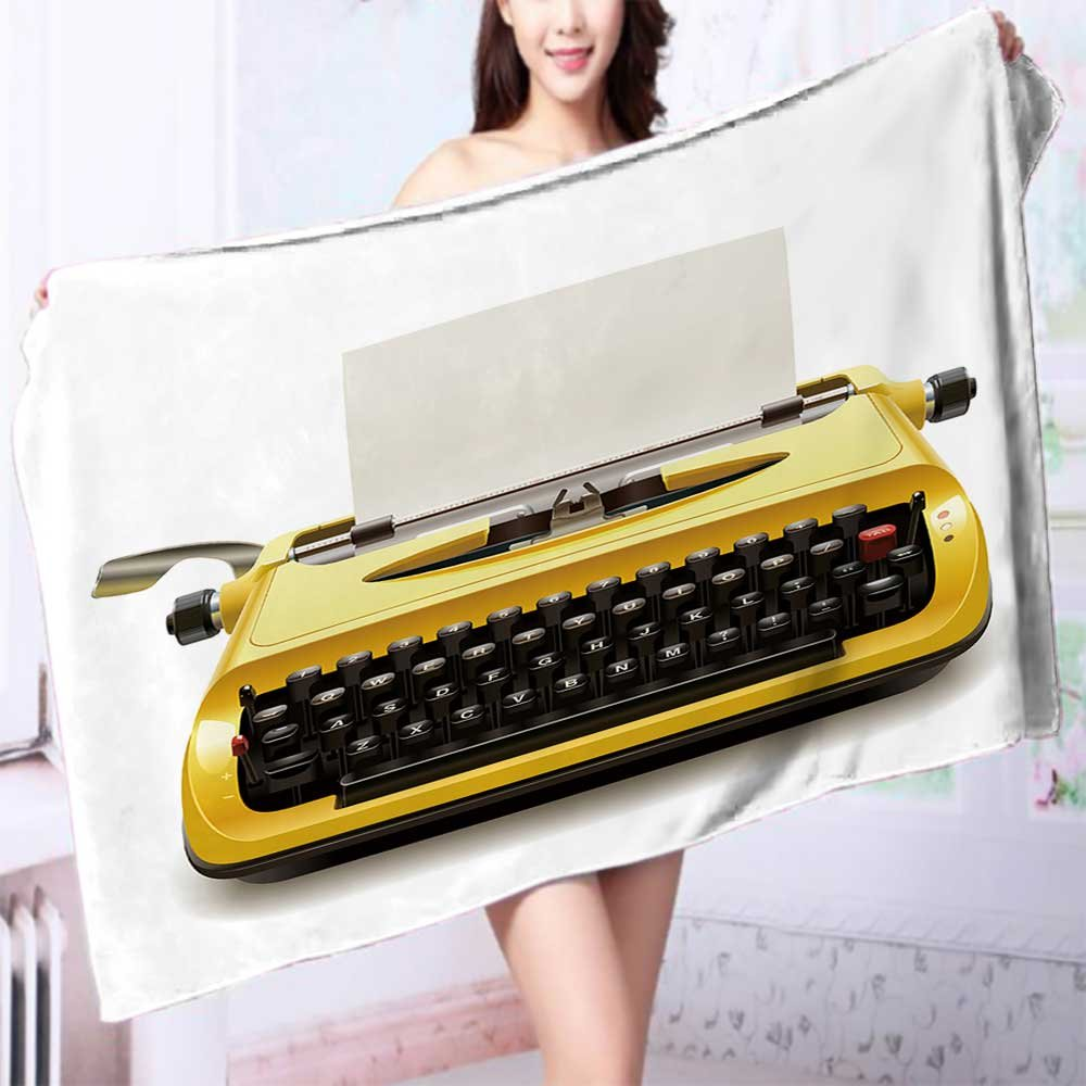 Quick dry bath towel Yellow vintage typewriter with a blank sheet of paper Absorbent Ideal for everyday use L55.1 x W27.5 INCH by L-QN