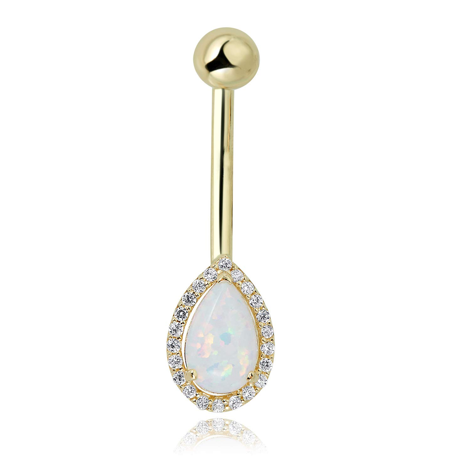 10K Yellow Gold Pear-shaped Created Opal with Simulated Diamond CZ Halo Belly Button Ring Body Jewelry - 014 Gauge by AVORA