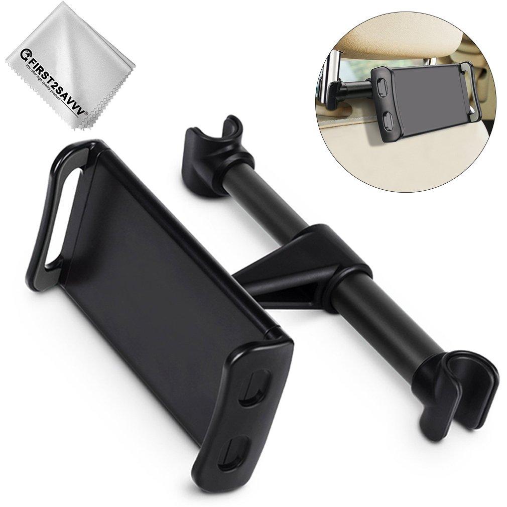 FIRST2SAVVV Universal para reposacabezas de Coche para Asiento Trasero Soporte Extensible rotación de 360 Grados para iPhone X 8 iPad y 4 – 11 Pulgadas Tablet ect Car-Rear Pillow-A01G11 dtfgf001