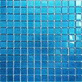 Save Money, 1m² Ocean Blue Glitter Glass Mosaic Tiles Sheet (MT0008) by Grand Taps
