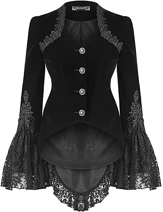Dark In Love Womens Gothic Top Black Velvet Lace Long Sleeve Flared Cuff Vampire