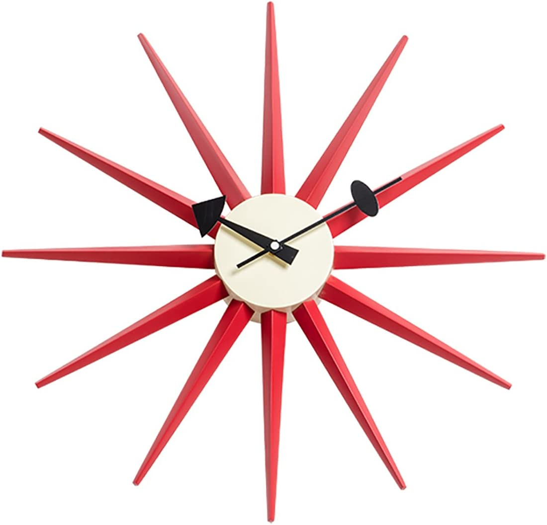 Emorden Furniture George Nelson Sunburst Clock, Atomic Wooden Wall Clock Mid Century Antique Retro Nelson Style Red