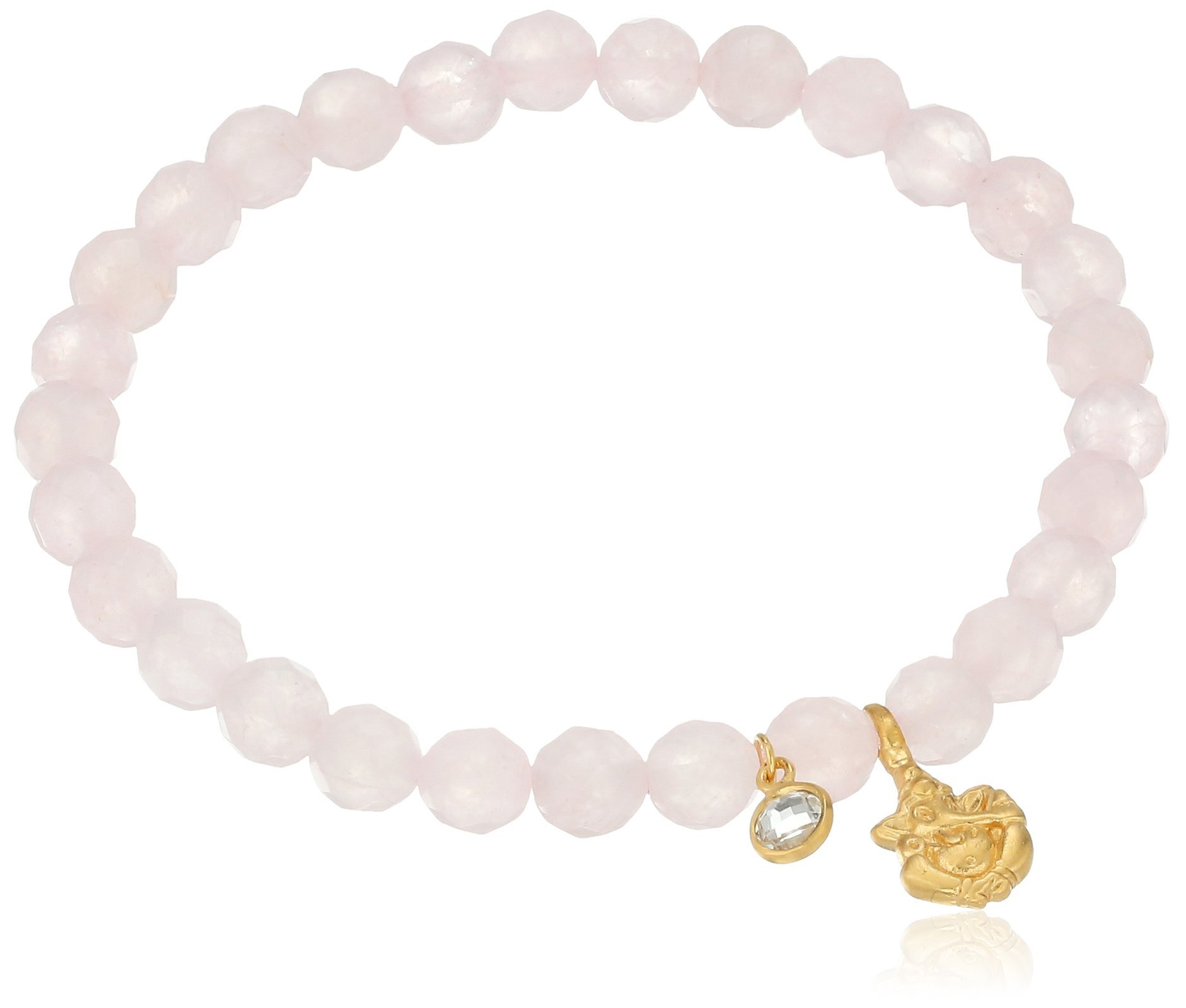Satya Jewelry Rose Quartz White Topaz Ganesha Stretch Bracelet