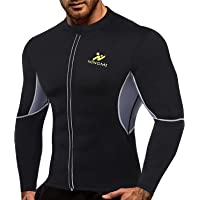 NINGMI Mens Sauna Suit Lange Mouw - Full Body Shaper Sweat Jassen Taille Trainer Workout Neopreen Shirt Gym