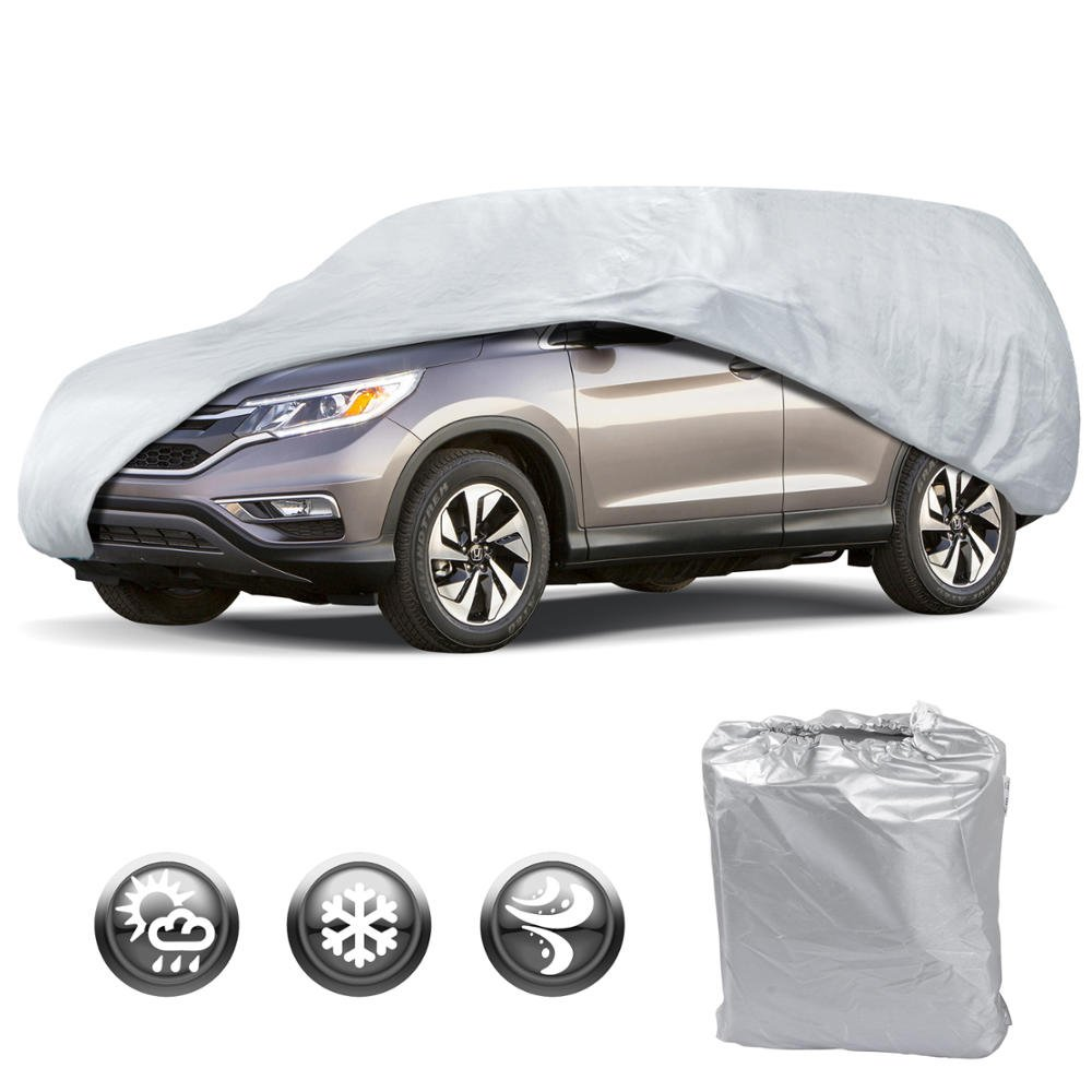 Motor Trend OV-542 All Season Weather Wear 1-Poly Layer Snow Proof Water Resistant Car Cover Size XL1-Fits up to 210-Inch