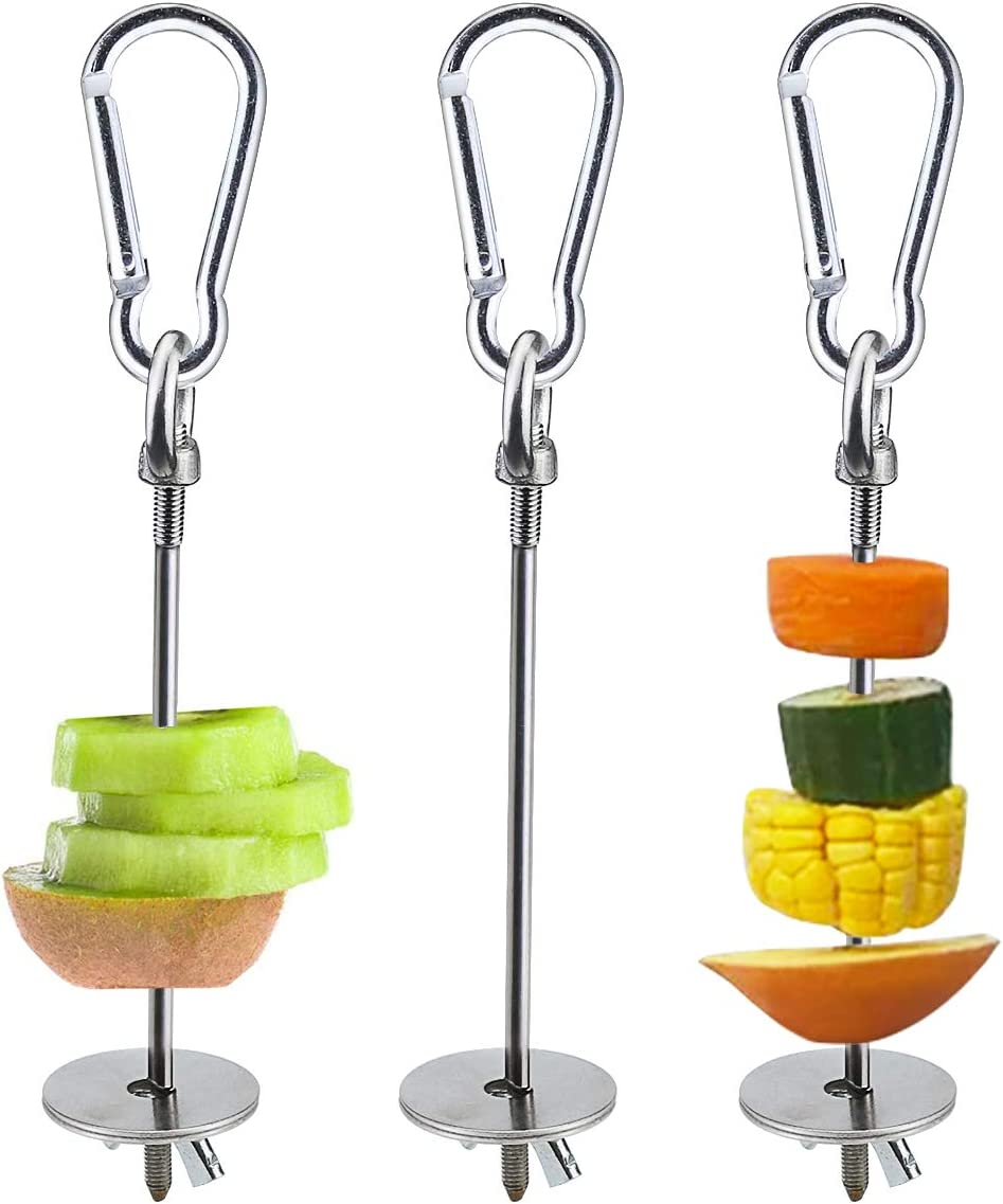 Sc0nni Bird Food Holder, Bird Feeders, Stainless Steel Parrot Fruit Vegetable Stick Holder, Foraging Toy, Bird Treat Skewer for Your Favorite Bird and Small Animal