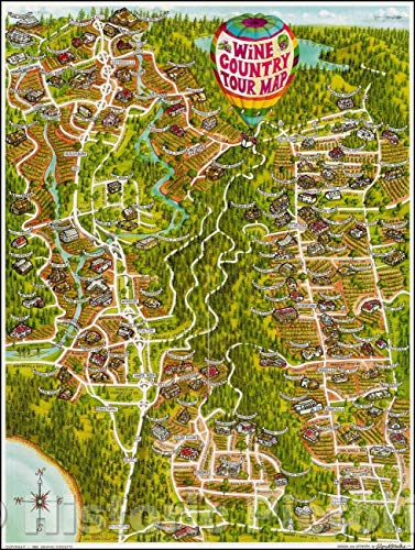 (Historic Map | Wine Country Tour Map (Locating 138 wineries in Napa County and Sonoma County), 1988, Ron Morales | Vintage Wall Art 44in x 59in)