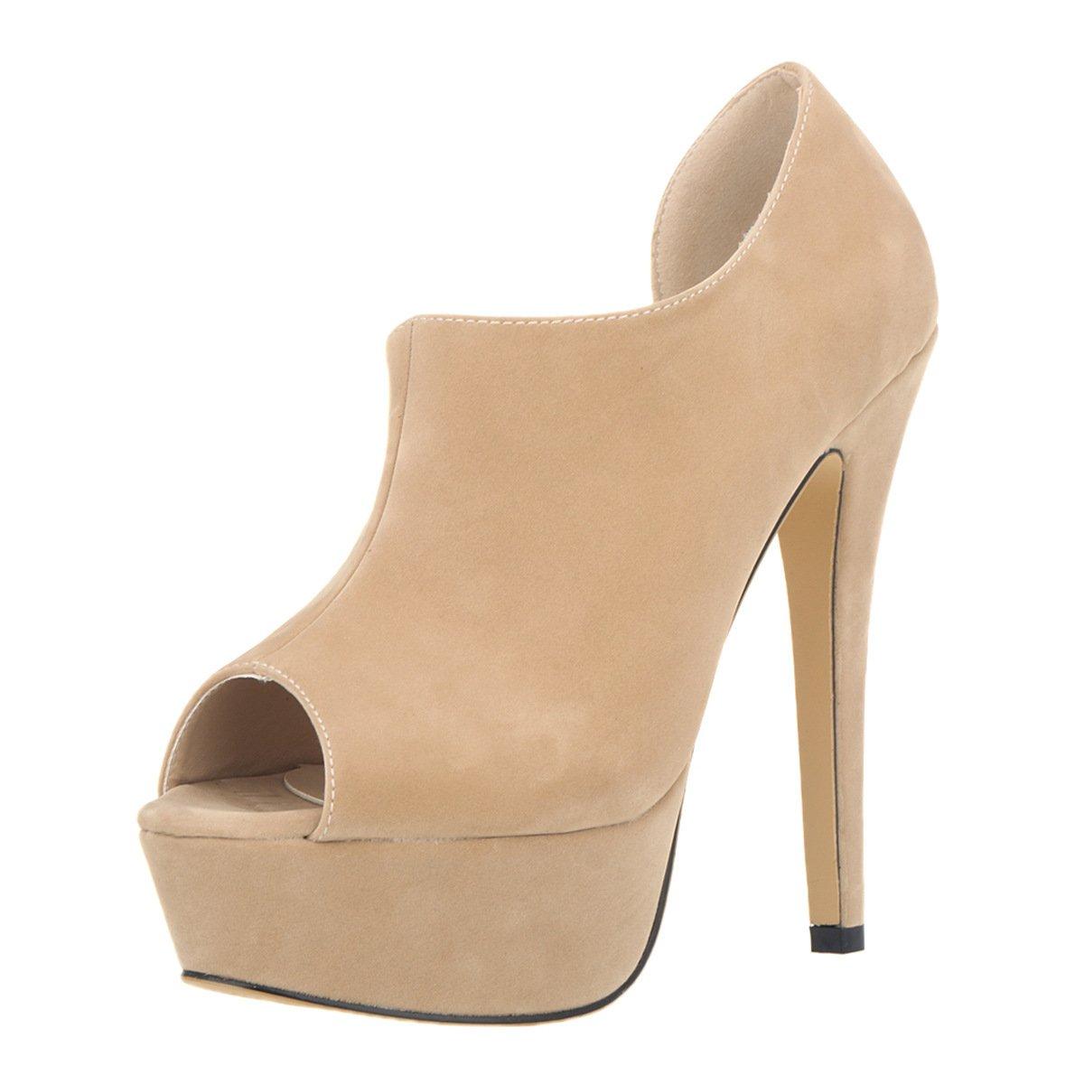 DYF Schuhe kurze Stiefel Farbe High Größe Fisch Mund High Farbe Heel Wasserdicht Aprikose Fla 35 bb8e21