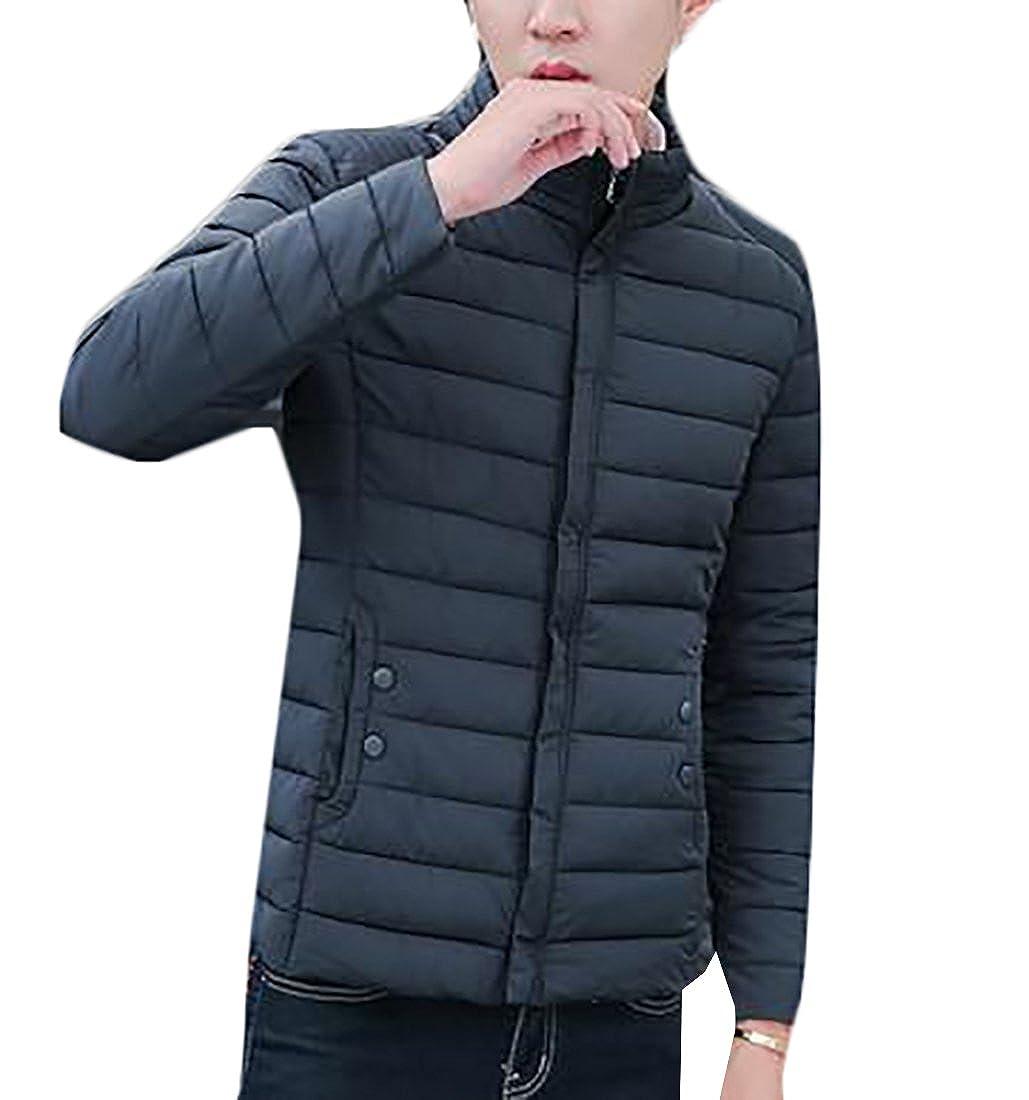 Jmwss QD Men Winter Zipper Lightweight Stand Collar Down Jacket Warm Coat