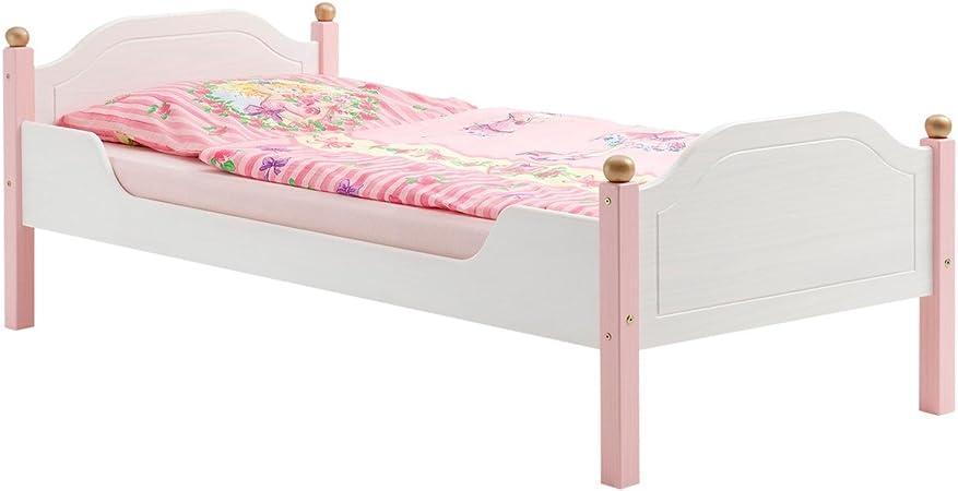 Einzelbett Kinderbett Mädchenbett Bett Isabella Kiefer Massiv Weißrosa