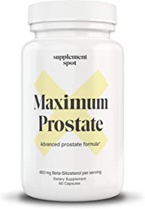 Supplement Spot Maximum Prostate | Advanced Prostate Formula Supplement with Essential Nutrients | Beta Sitosterol Prostate Formula for Supporting Prostate Health (60 Capsules)