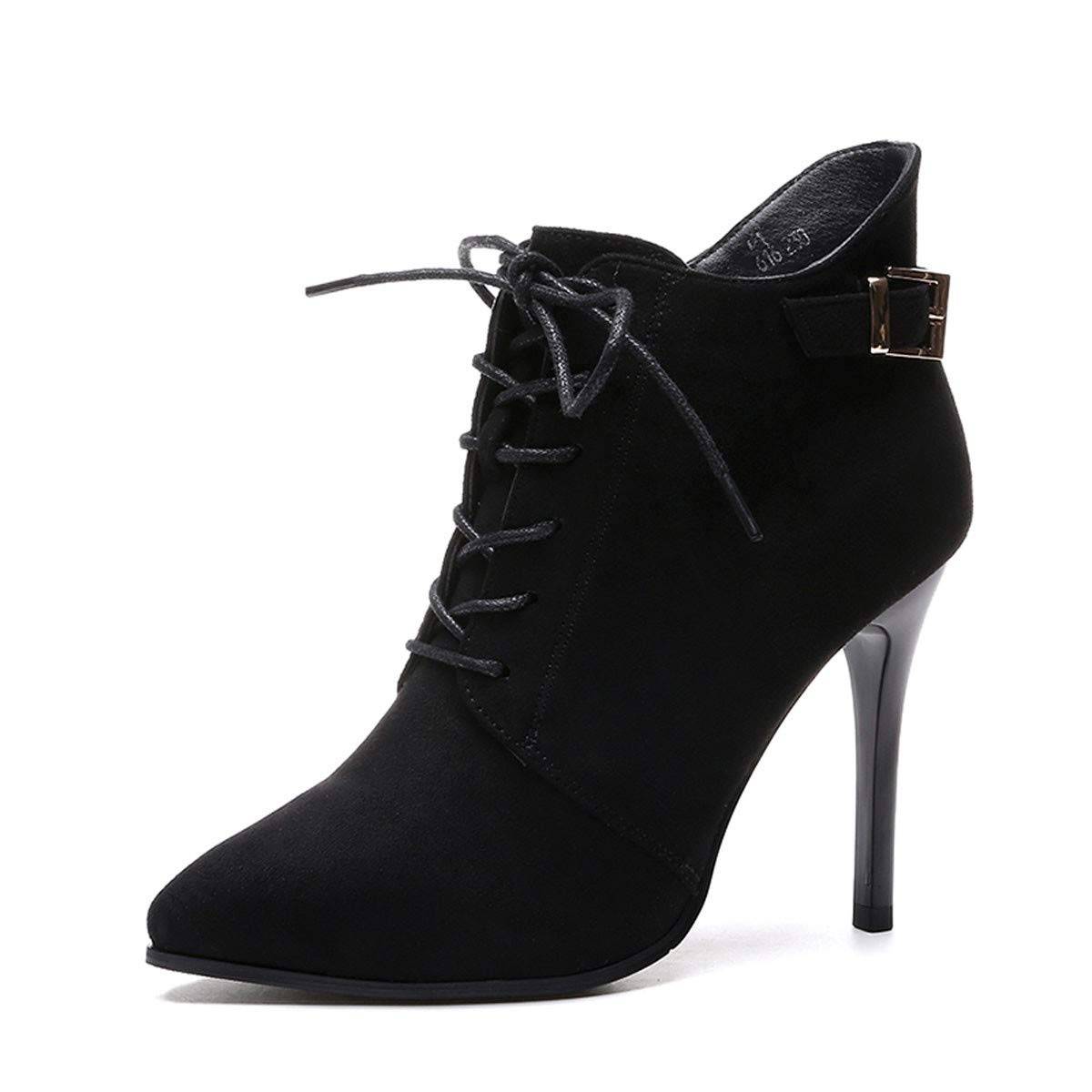 GTVERNH Frauen Schuhe High Heels Martin Stiefel Kurze Stiefel Fein Hacken 9Cm Spitze Sexy 100 Sätze Scharfen Spitzen Damenschuhe Mode