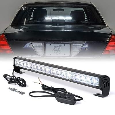 Xprite 18 Inch High Intensity 16 LED Strobe Emergency Traffic Advisor Warning Light Bar w/ 7 Flashing Patterns for Firefighter Vehicles Trucks Cars - White: Automotive