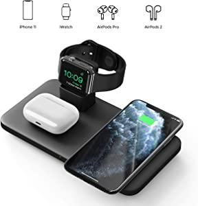 Seneo 3 in 1 Wireless Charger, Wireless Charging Pad for AirPods Pro/2, Charging Dock for iWatch 5/4/3/2, 7.5W Qi Fast Charge for iPhone 11/11 Pro Max/SE 2/XS Max/XR/XS/X/8/8P(No Adapter/iWatch Cable)