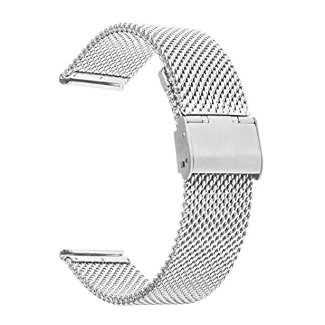 Adallor Milanese Correa de Reloj, de liberación rápida, Correa de Repuesto de Acero Inoxidable, 18, 20, 22, 24 mm, Bold Silver, 24 mm