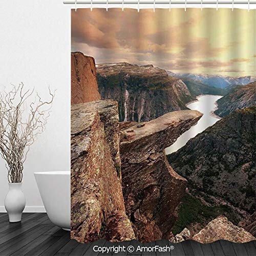 Apartment Decor,Fabric Shower Curtain - Spa,Hotel Luxury,Water Repellent,Decorative Bathroom Curtains,72 x 72 inches,Nothern Mountains Canyon Landscape with Calm River in Norway Scenic Nature Tops Pho (Best Pho In Dallas)