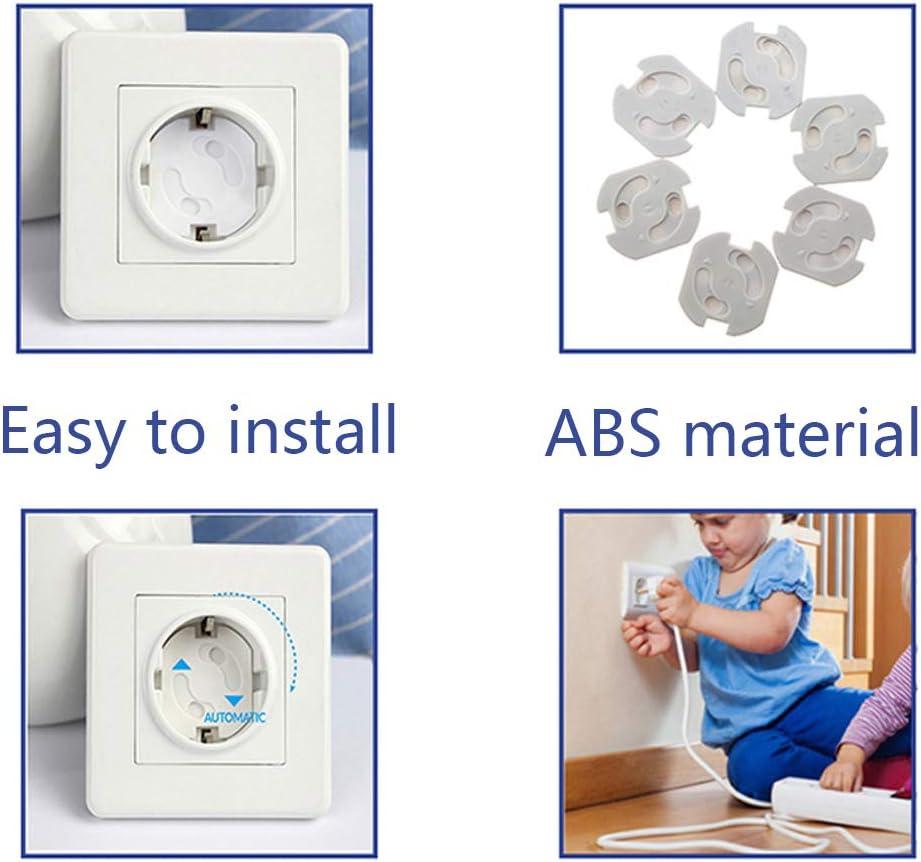 Enchufe de Seguridad con Resistente Adhesivo y Mecanismo de Giro Protector para Enchufes 24 Unidades Enchufes para Beb/é y Ni/ños