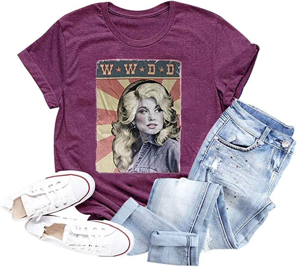 GEMLON Women Vintage Shirt Retro Graphic Tee Tops Short Sleeve Summer Casual T-Shirt Lady Outfit