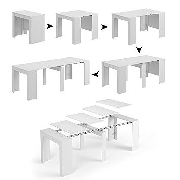 Tavolo 90 X 90 Allungabile Bianco.Esidra Tavolo Allungabile Consolle Legno 235 Cm 4 Allunghe 90 X