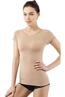 2b2a5fcdf MD Super Soft Light Control Body Shapewear Seamless Short Sleeve Shirts  Slimming Shaping Lace Top for