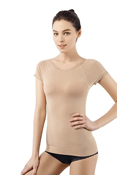 22360683ee311 MD Super Soft Light Control Body Shapewear Seamless Short Sleeve Shirts  Slimming Shaping Lace Top for Women