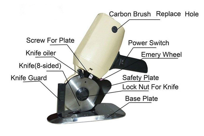 Vogvigo Máquina de Cortar Tela Eléctrico Portátil Cortadora de Tela Motor Cuchillo Redondo Máquina de Corte de Cuero/Papel Eléctrico 100mm: Amazon.es: Hogar