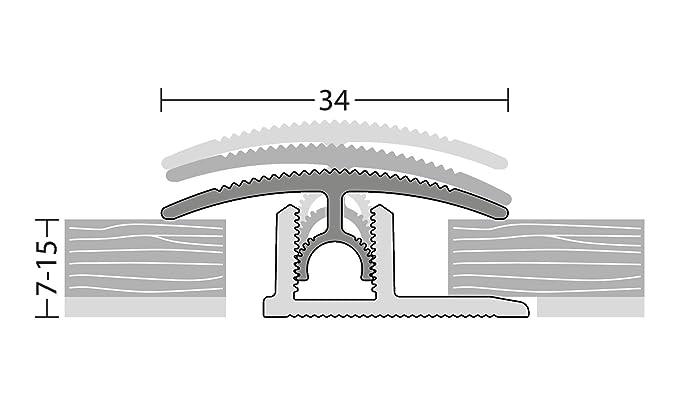 Ubergangsprofil klick 34mm 90cm Edelstahl Matt Belagstarken 7 bis 15mm Aluprofil Basisprofil