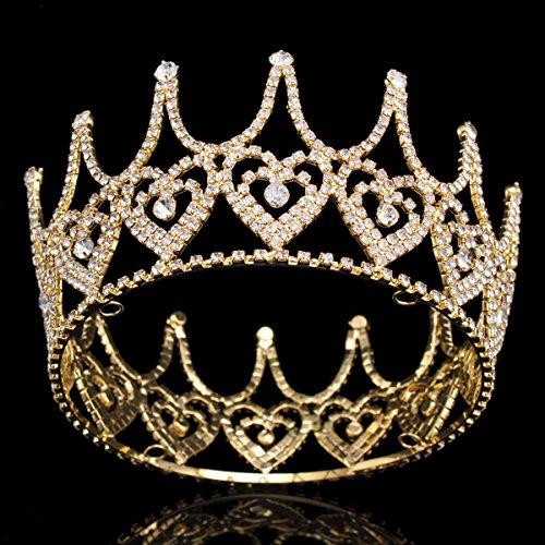 Stuffwholesale Crystal Heart King Crown Gold Tiara Hair Accessories (Gold)