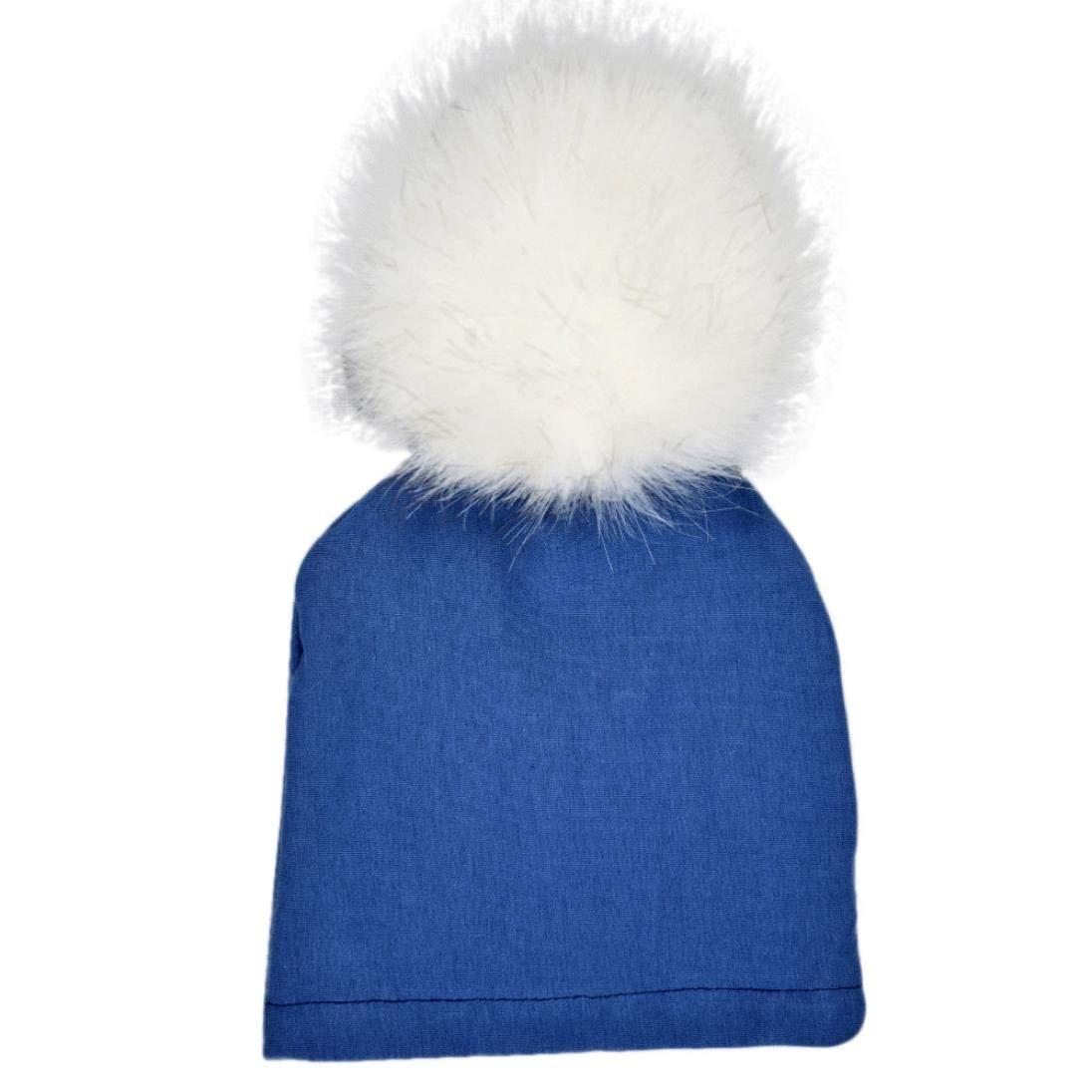 Blue Jinjiu Newborn Infant Baby Winter Warm Solid Hats Faux Fur Big Pompom Ball Cotton Beanie Cap For 0-12 Month Baby