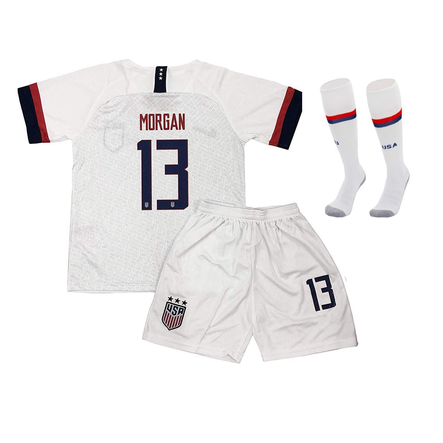 Shenyizhu Alex Morgan 13 USA Youth/Kid 20season Home/Away T-Shirt Socks (White, 24) by Shenyizhu