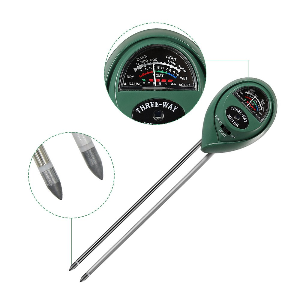3 in 1 Soil Tester for PH, Light & Moisture, Plant Test Kit for Home and Garden, Farm, Lawn, Indoor & Outdoor, Easy Read Indicator (No Battery Needed) by FARINIDO (Image #2)