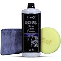 Wavex® Tyre Polish 1 LTR   Foam Applicator and Microfiber Cloth  Gives Lustrous Dark, Long Lasting Super Black Shine - Non-Greasy and No Sling Formulation