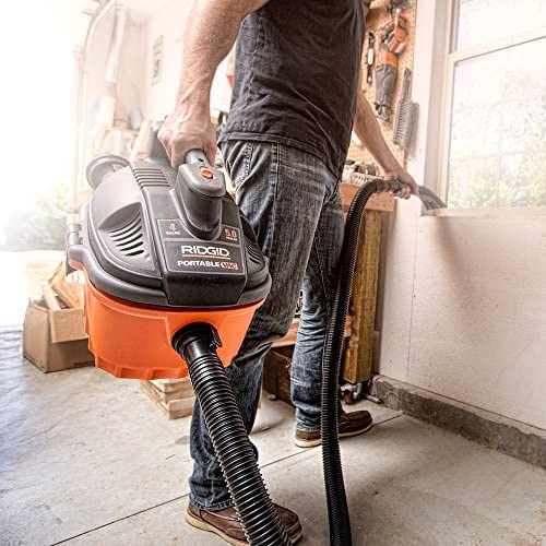 RIDGID Wet Dry Vacuums VAC4000 Powerful and Portable Wet Dry Vacuum Cleaner, Includes 4-Gallon, 5.0 Peak Horsepower Wet Dry Auto Vacuum Cleaner for Car, Dusting Brush, Car Nozzle, and Claw Nozzle