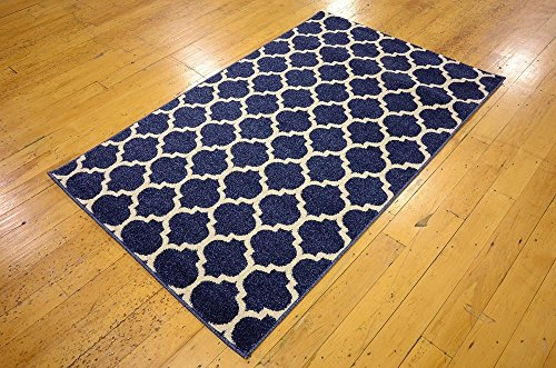 "Unique Loom Modern Geometric Trellis Contemporary Area Rug - Made in Turkey, this Unique Loom Trellis Collection rug is made of Polypropylene. This rug is easy-to-clean, stain resistant, and does not shed. Colors found in this rug include: Dark Blue, Navy Blue, Ivory. The primary color is Dark Blue. This rug is 1/2"" thick. - living-room-soft-furnishings, living-room, area-rugs - 61nTCZ3T vL -"