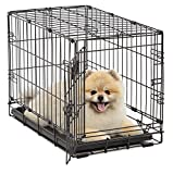 Dog Crate | MidWest iCrate XS Folding Metal Dog Crate w/ Divider Panel, Floor Protecting Feet & Leak-Proof Dog Tray | 22L x 13W x 16H inches, XS Dog Breed, Black