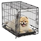 MidWest Homes for Pets - Jaula para Perros   iCrate Jaula de Metal Plegable para Puerta Individual y Doble Puerta   Totalmente Equipada, Puerta única, Single Door, 22-Inch w/Divider